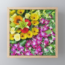 colorful flower arrangement, festively beautiful, colorful, chic Framed Mini Art Print
