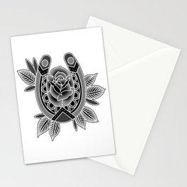 Black & Grey Traditional Rose & Horseshoe Stationery Cards