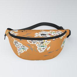 Cartoon animal world map, back to school. Animals from all over the world Rust yellow  Fanny Pack