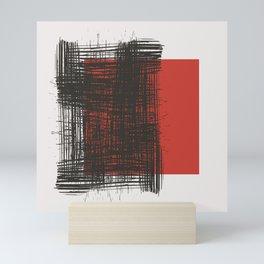 Black Red White Minimal Art Geometry, Abstract Illustration-1, Mini Art Print