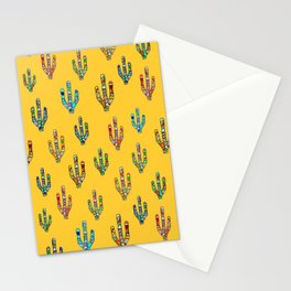 Mosaic Cacti on Yellow Stationery Cards