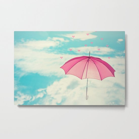 Raining Hearts Metal Print