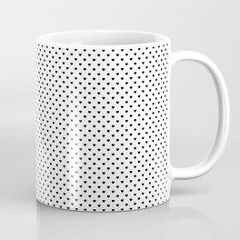MIni Black Polka Dot Hearts on White Coffee Mug