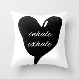 Society6 inhale exhale black heart Throw Pillow
