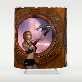 Wonderful steampunk lady with steam dragon Shower Curtain