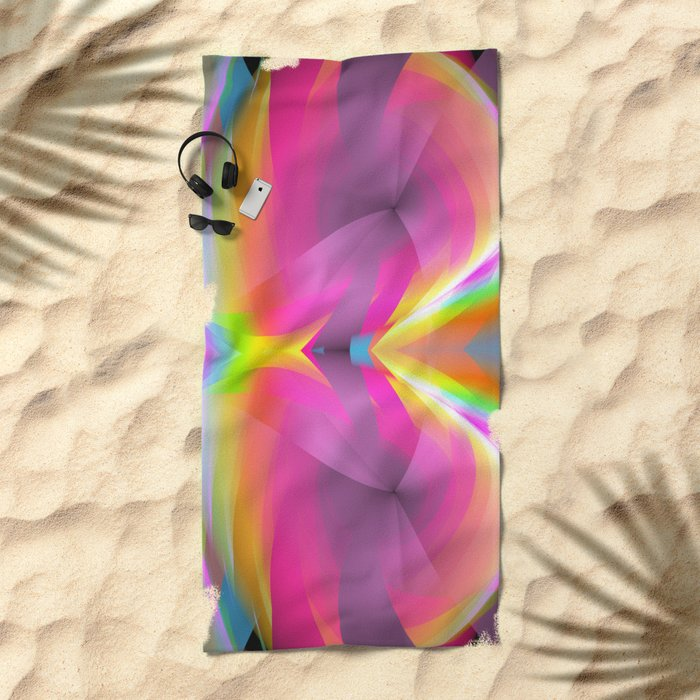 Abstract in rainbow colors and an optical effect Beach Towel