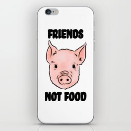 Cute Pig Vegan Friends Not Food Illustration iPhone Skin