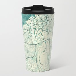 Cleveland Map Blue Vintage Travel Mug