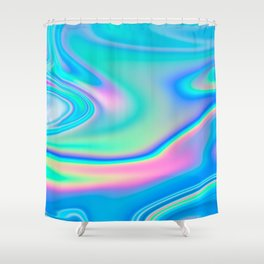Holographic Iridescence Chill Vibes Shower Curtain