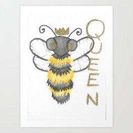 Cute Watercolour Queen Bee Art Print