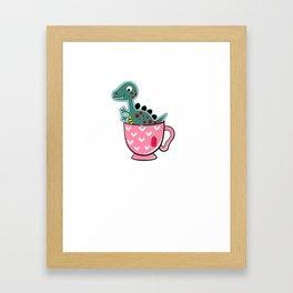 Tea Rex, T Rex in a Tea Cup Cute Hand Drawn Dinosaur product Framed Art Print