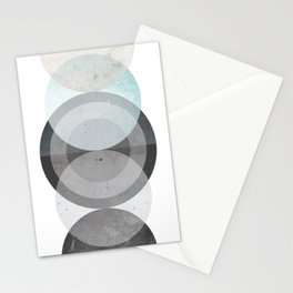 Blue Abstract Circle Print Stationery Cards