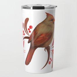 Female Cardinal Travel Mug