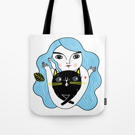Cat Friend Forever (Blue Version) Tote Bag