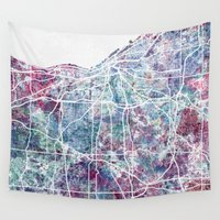 cleveland Wall Tapestries featuring Cleveland map by MapMapMaps.Watercolors