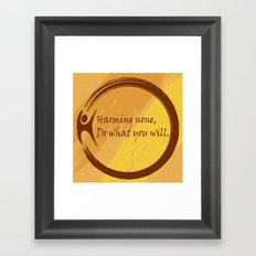 Harming None Do What You Will Color Background Framed Art Print