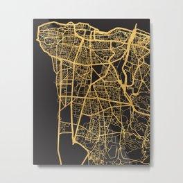 BEIRUT LEBANON GOLD ON BLACK CITY MAP Metal Print