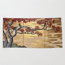 Japanese Fall Leaves Beach Towel