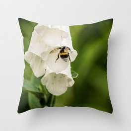Bumblebee in the campanula Throw Pillow
