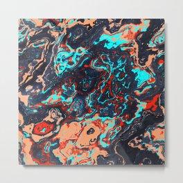 Black Marble Colorful Waves Metal Print