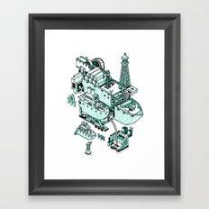 Small City - Green Framed Art Print