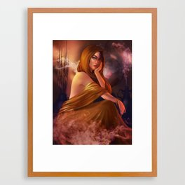 Girl in Gold Framed Art Print
