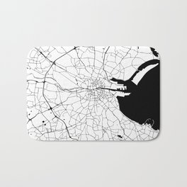 White on Black Dublin Street Map Bath Mat