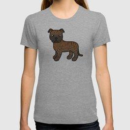 Brindle English Staffordshire Bull Terrier Cartoon Dog T-shirt
