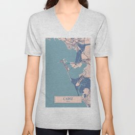 Cadiz - Spain Breezy City Map Unisex V-Neck