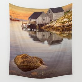 Peggy's Cove Harbor at Sunset in Nova Scotia Wall Tapestry