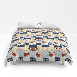 Baseball Pinstripes White and Blue - Super Cute Sports Stars Comforters