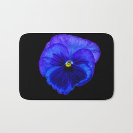 Purple Pansy on Black Bath Mat