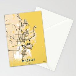 Mackay Yellow City Map Stationery Cards