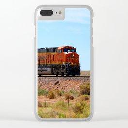 Orange BNSF Engines Clear iPhone Case