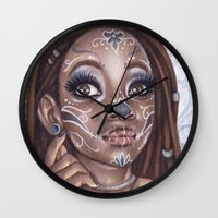 gemma correll Wall Clocks featuring Sugar Skull by Gemma Pallat by ToraSumi