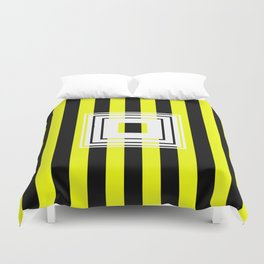 Bumblebee Box - Geometric, bold, yellow and black striped design Duvet Cover