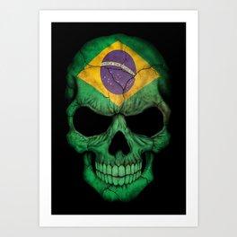 Dark Skull with Flag of Brazil Art Print