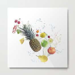 Fresh fruits and berries  with water splash Metal Print