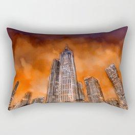City in sunset Rectangular Pillow