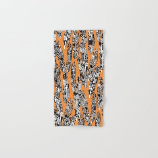 geo feathers orange Hand & Bath Towel