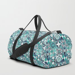 Spanish moroccan tiles inspiration // turquoise green silver lines Duffle Bag
