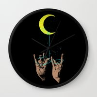 the moon Wall Clocks featuring MOON by GENO