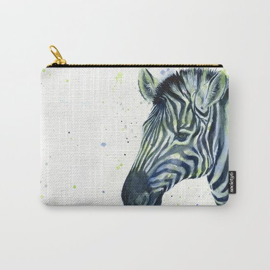 Zebra Watercolor Blue Green Animal Carry-All Pouch