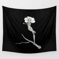 cherry blossom Wall Tapestries featuring Cherry Blossom by Nadina Embrey - Artist / Illustrator