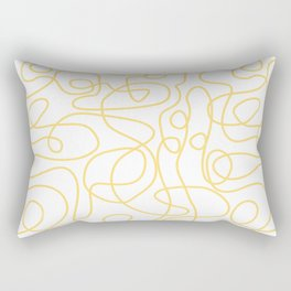Doodle Line Art   Yellow Lines on White Background Rectangular Pillow
