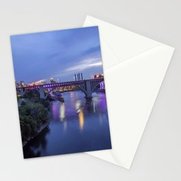 Illuminated Minneapolis and Mississippi River Birdges during a Summer Twilight Stationery Cards