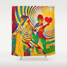 7586s-MM Red Shadow Heart Catch Cherish Set Free Abstract Romantic Love Shower Curtain