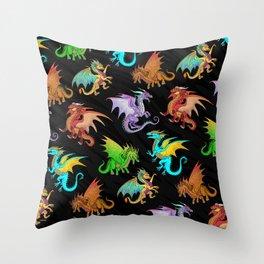 Colorful Rainbow Dragons School Throw Pillow