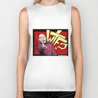 picard Biker Tanks featuring Wtf Picard by Slightly Absurd