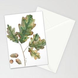 Oak tree leaves Stationery Cards